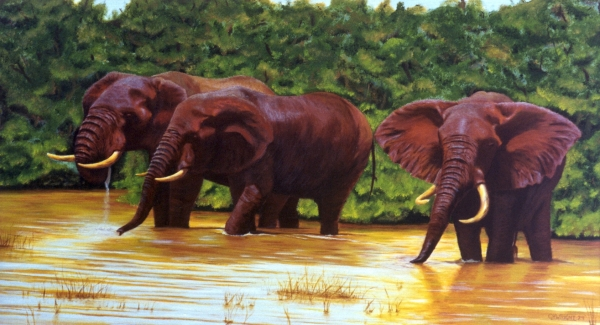 Elephants at the Waterhole (2)